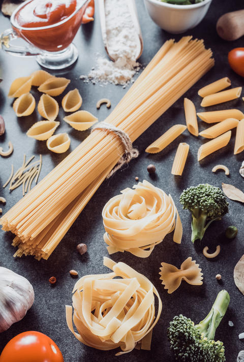 pasta and food ingredient on table Photo