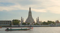 Wat Arun Temple at sunset in bangkok Thailand. Wat Arun is a Buddhist temple in GIF