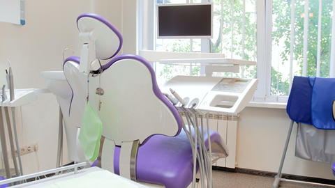 4k video of camera flying around dentist chair in modern dental clinic Footage