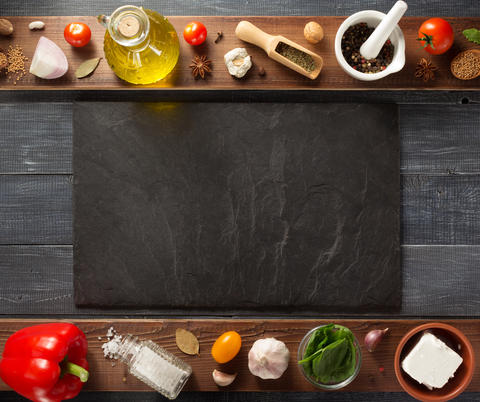 spice, herbs and food ingredients on wood Photo