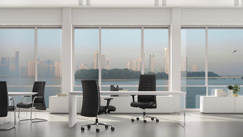 Empty modern office, island and metropolis with skyscrapers outside big window Live Action