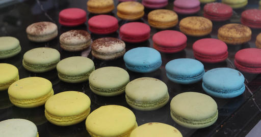 Close Up Colorful Macarons Dessert In Bakery Shop Footage