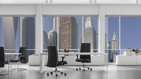 Modern office with tables and chairs, downtown with skyscrapers outside the Footage