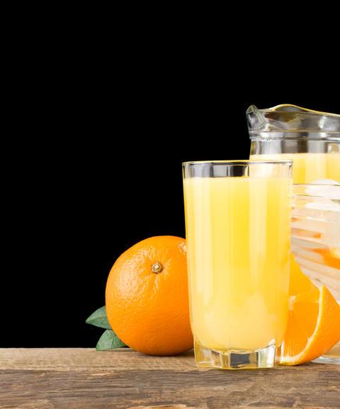 orange juice and fruit Photo
