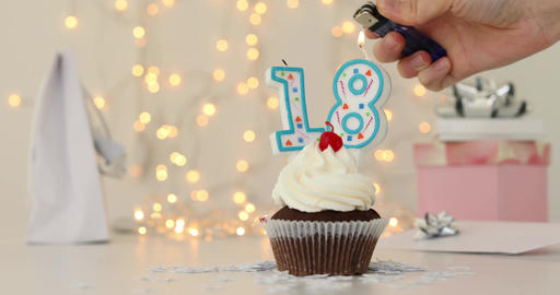Happy Eighteenth Birthday 18 Cupcake Footage