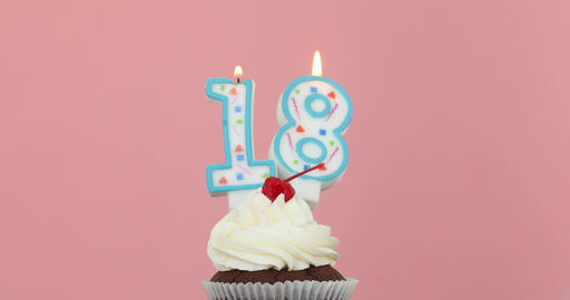 Eieghteen 18 candle in cupcake pink background Live Action