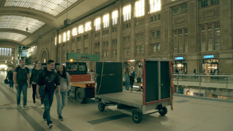 LEIPZIG, GERMANY - MAY 1, 2018. Utility vehicle at Hauptbahnhof or Central Footage