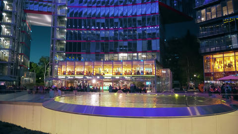 BERLIN, GERMANY - APRIL 30, 2018. Illuminated Sony Center interior in the Footage