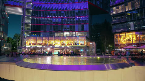 BERLIN, GERMANY - APRIL 30, 2018. Illuminated Sony Center... Stock Video Footage