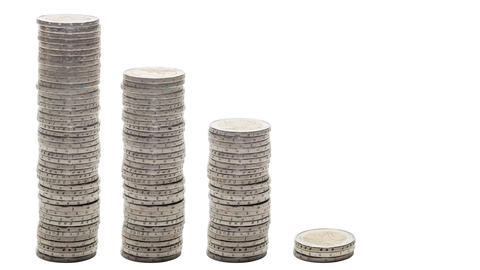 Five stacks of coins decreasing - Stop Motion Footage