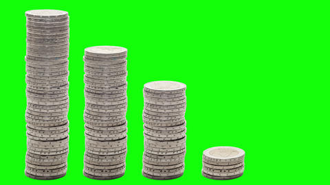 Five stacks of coins decreasing. Stop Motion. Chroma Key Footage