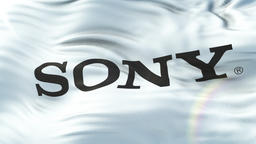 SONY flag waving on sun. Seamless loop with highly detailed fabric texture Animation