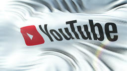 YOUTUBE flag waving on sun. Seamless loop with highly detailed fabric texture Animation