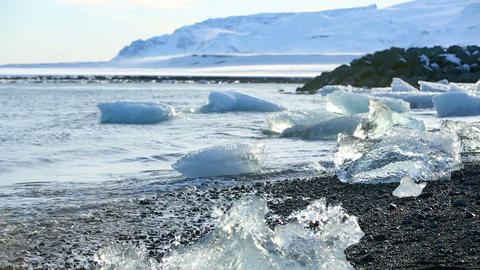 Global warming at a glacier lagoon Jokulsarlon in Iceland Live Action