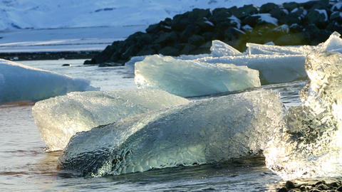 Melting ice floes at the glacier lagoon Jokulsarlon in Iceland, part1 Footage