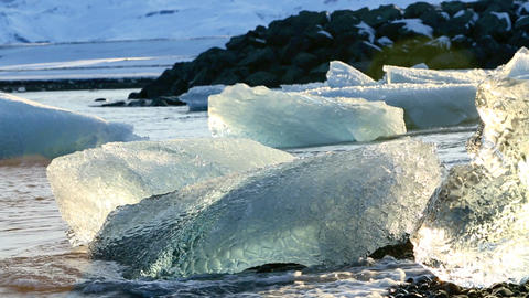 Melting ice floes at the glacier lagoon Jokulsarlon in Iceland, part2 Footage