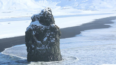 Volcanic rock near Vik in South Iceland Footage