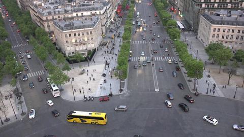 4K view from Arc de triomphe to Paris Footage