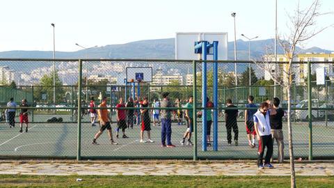 KARSIYAKA, IZMIR, TURKEY - MAY 2015: people enjoy seaside garden Footage