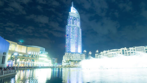 4k famous hotel night time lapse from dubai Footage