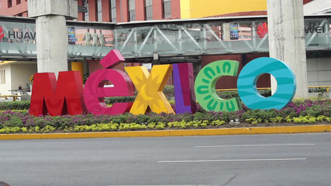 Mexico Sign Outside Mexico City Airport Footage
