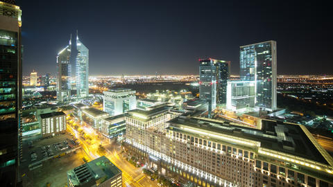 time lapse from the roof on night trffic dubai city Footage