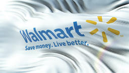 WALMART flag waving on sun. Seamless loop with highly detailed fabric texture 애니메이션