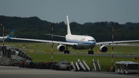 Air China Airbus A330 moving on runway Footage