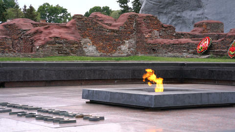 Brest, Belarus - September 25, 2016: eternal flame in Brest Fortress Footage