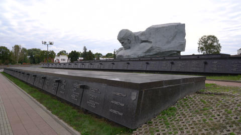 Brest, Belarus - September 25, 2016: necropolis and Courage Monument in Brest Footage