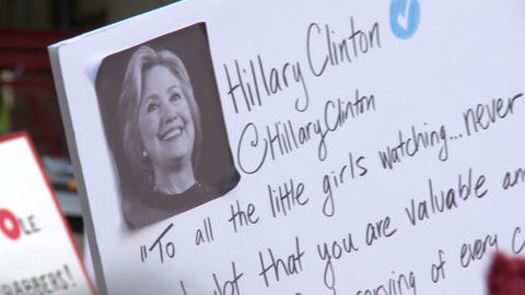 Sign with HILLARY CLINTON Quote Footage