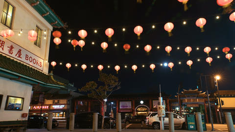 LA Chinatown Red Lanterns Footage