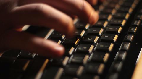 Black Keyboard Typing Side View Footage