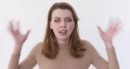Close up of a young stressed girl shouting Footage