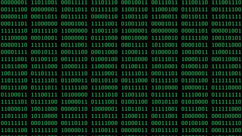 Green 8-Bit Scrolling Binaries Screensaver Animation