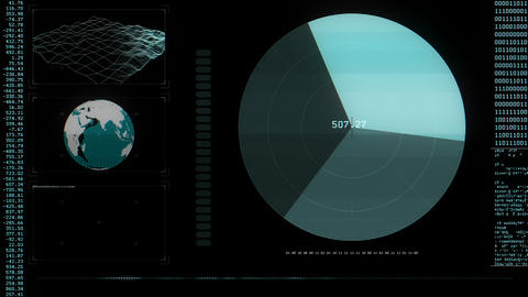 Global Tracking HUD, Scanlines Stock Video Footage