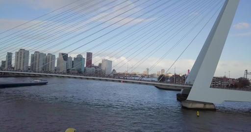 4k Panoramic aerial shot of Erasmusbrug bridge in Rotterdam, The Netherlands Footage