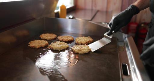 Food Truck owner preparing food Footage