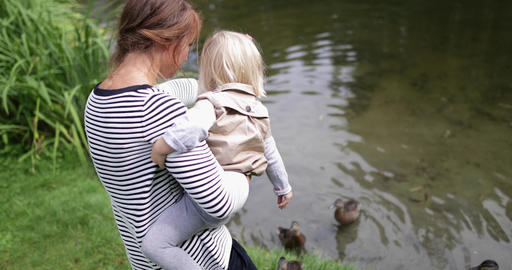 Mother and daughter feeding the ducks in park Footage