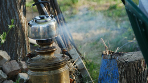 Process of making tea in the samovar Footage