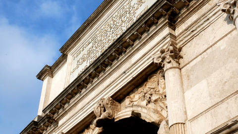 tracking shot on details of the triumphal arch of Tito, in the center of Rome Footage
