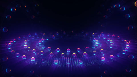 Abstract particles from wheel plate balls shine glow Animation