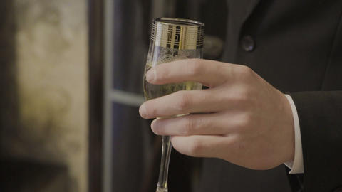 A man is holding a glass with an alcoholic drink ビデオ
