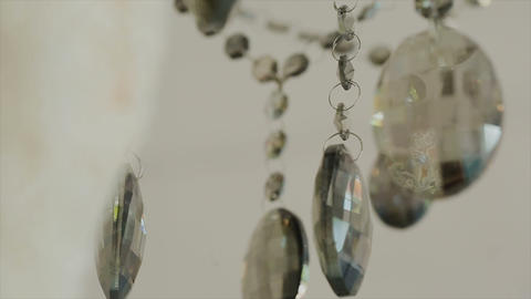 Crystal chandelier. Big classic crystals. Low angle shot... Stock Video Footage