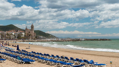 "Cinemagraph of wide view of ""SITGES"". Smooth camera movement: Zoom in.Hyper Footage"