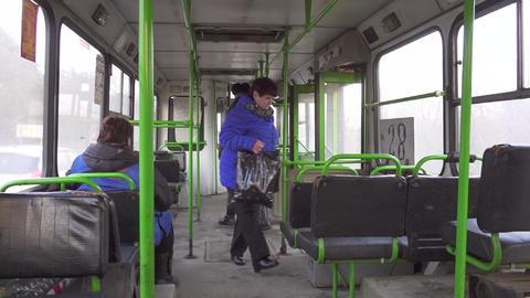 Inside the city bus, Russia, winter 영상물