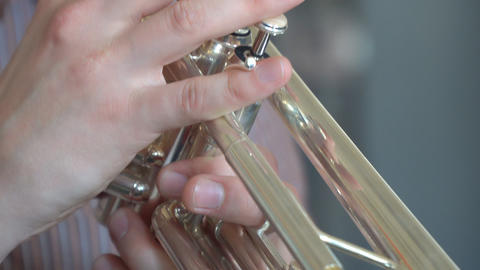 Hands trumpeter playing on trumpet Footage