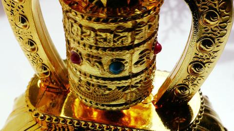 Buddhist Golden Reflection Prayer Wheel Meditation 4k Footage