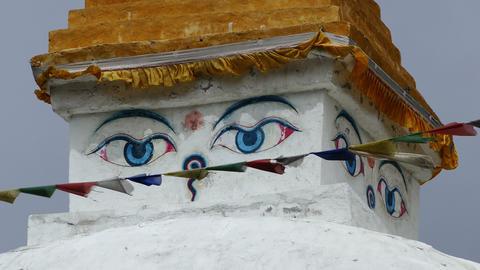 Buddhist Stupa Flags Wind Himalayas Mountains Nepal 4k Footage