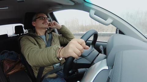 Man driving car traveling Footage